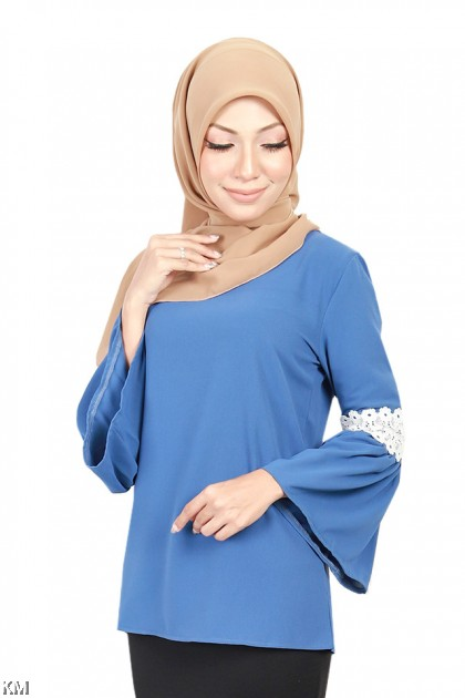Muslimah Lace Fluted Sleeves Blouse [B18558]