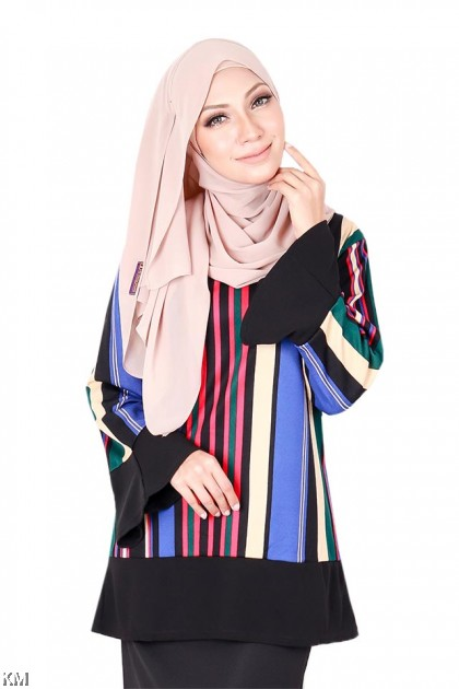 Vertical Colorblocks Muslimah Blouse [B19345]