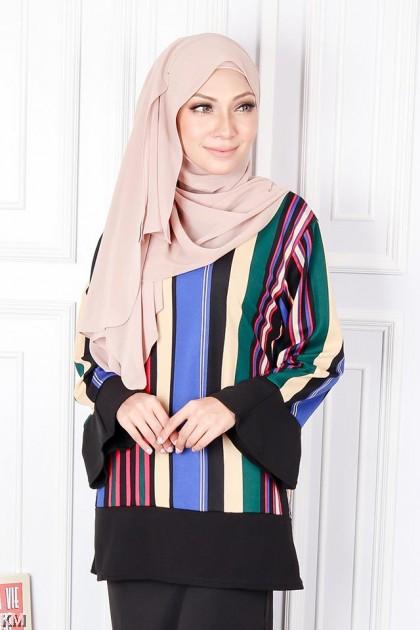 Vertical Colorblocks Muslimah Blouse [B19345]