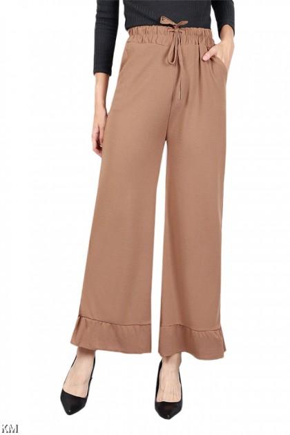 Ruffle Trim Elastic Pants [P19590]