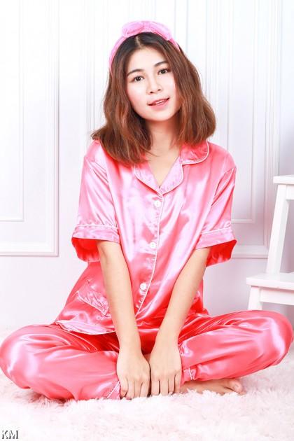 Silk Satin Pajama Set Night Wear [PJ19538]