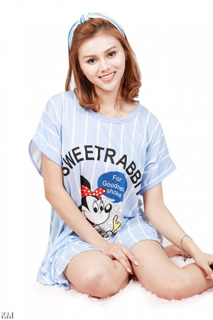 Cartoon Printed Soft Sleep Dress [PJ19503]