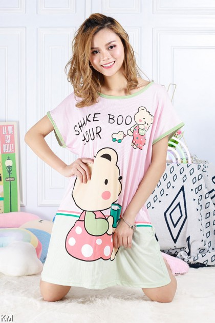 Cartoon Printed Plus Size Sleep Dress Collection A [PJ19503]