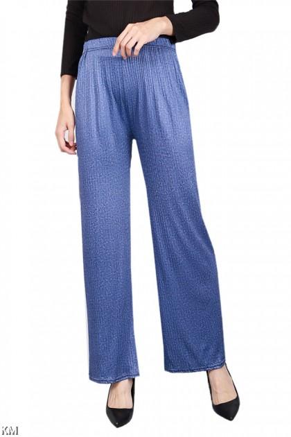 Self Textured Elastic Straight Pants [P19844]