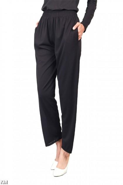 2XL-4XL Black Parallel Elastic Pants [P19573]