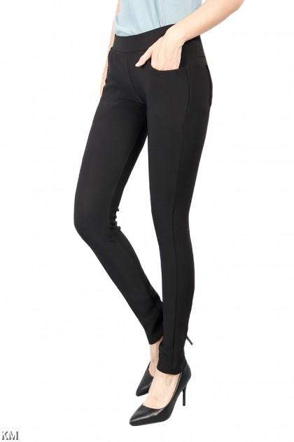 M-4XL Women Black Skinny Pants [P18566]