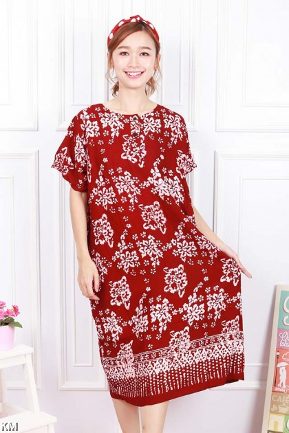 Button Short Sleeves Kaftan Dubai Sleeping Dress [D15494]