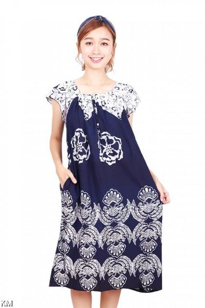 Square Neckline Kaftan Dubai Sleeping Dress [D15496]
