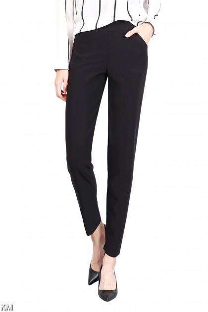 Basic Black Elastic Work Pants [P20841]