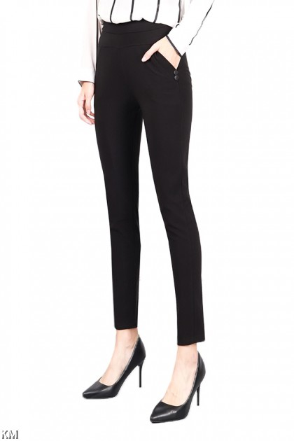 Side Button Detailed Black Work Pants [P21181]