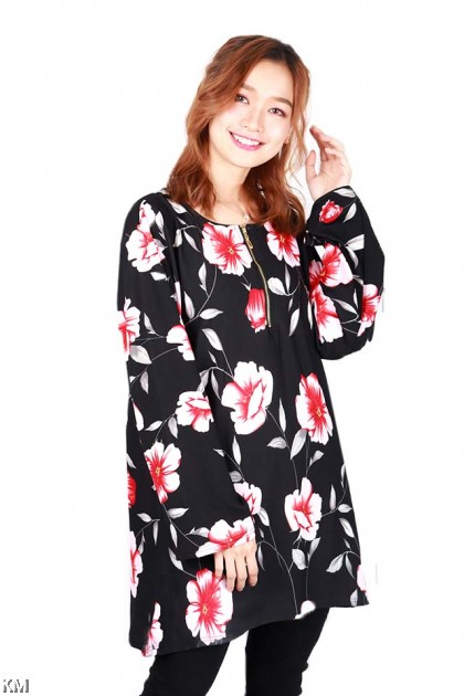 Plus Size Printed Muslimah Zipper Blouse [B1342]