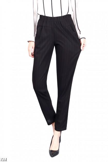 Regular Fit Stripes Printed Black Trouser [P20866]