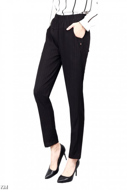 Regular Fit Stripes Printed Black Trouser [P20866]