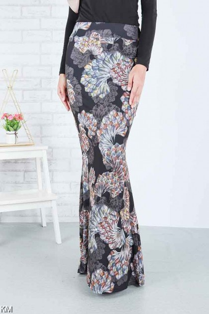 Multi Printed Mermaid Skirt [S 19925 ]