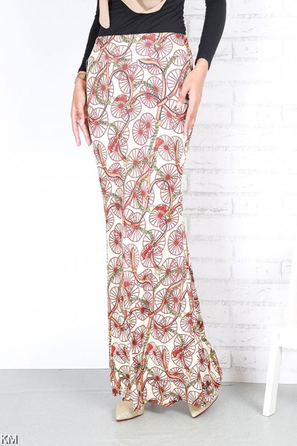 Multi Printed Mermaid Skirt [S24911]