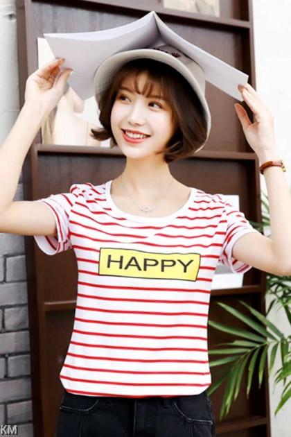 Korean Printed Stripes T Shirt [T10303]