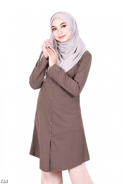HAWA Button Detailed Tunic Blouse [B12993]