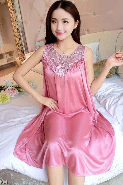 Plus Size Ice Silk Relax Sleep Dress [PJ15715]