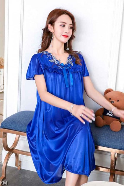 Plus Size Ruffle Lace Sleep Dress [PJ15669]