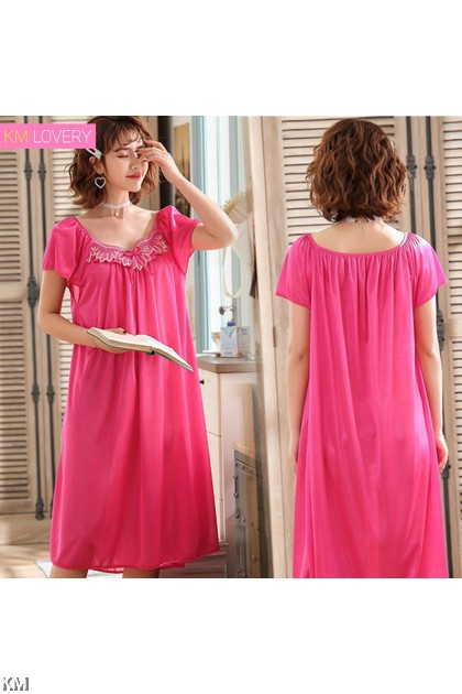Plus Size Ice Silk Secret Sleep Dress [PJ15671]