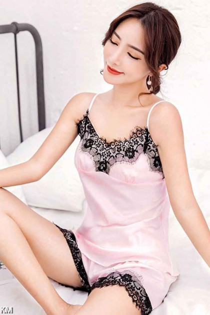Ice Silk Lace Panel Set Loungewear [PJ15747]