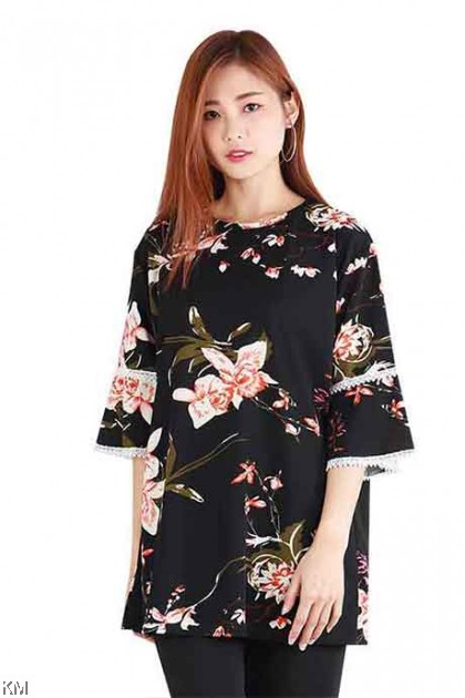 Japanese Style Floral Trimmed Blouse [B15617]