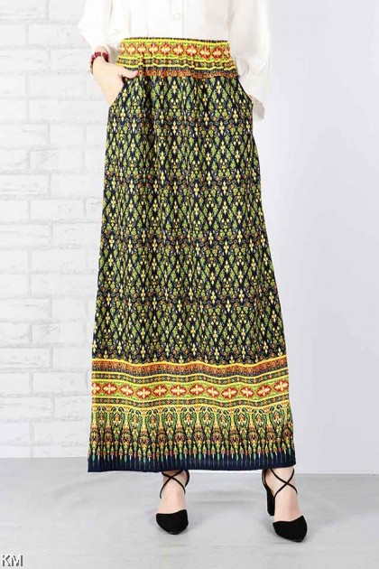 Ethnic Fully Printed Elastic Maxi Skirt [S18448]