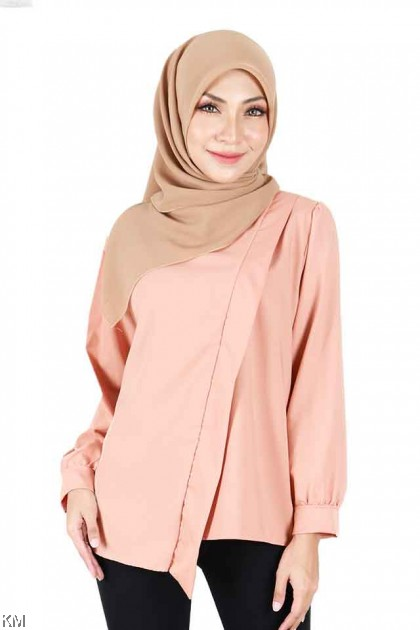 Dalia Solid Slash Modern Blouse [B1788]