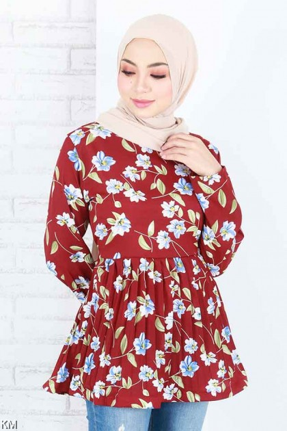 Nurmila Peplum Floral Printed Blouse Collection [B790]