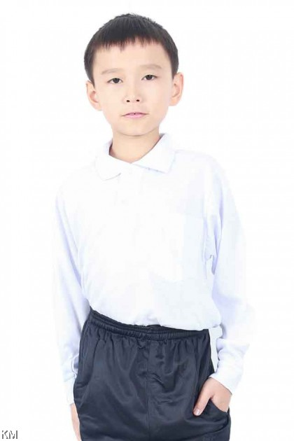 School COLLAR LONG Sleeves White T Shirt [T19801]
