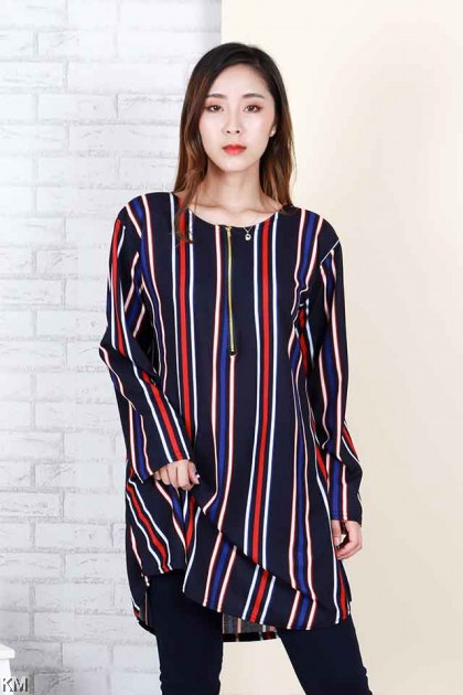 Plus Size Striped Front Zip Blouse [B23792]