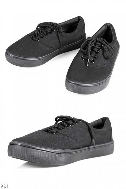 Black Self Tie School Shoe [M20540]