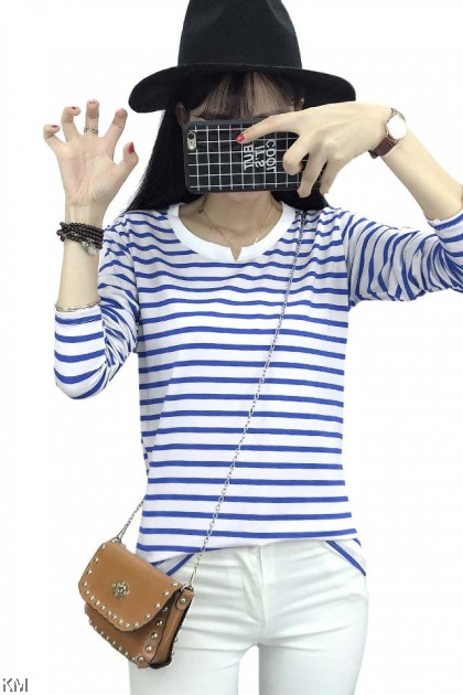Plus Size Women Long Sleeves Striped T Shirt [T11309]