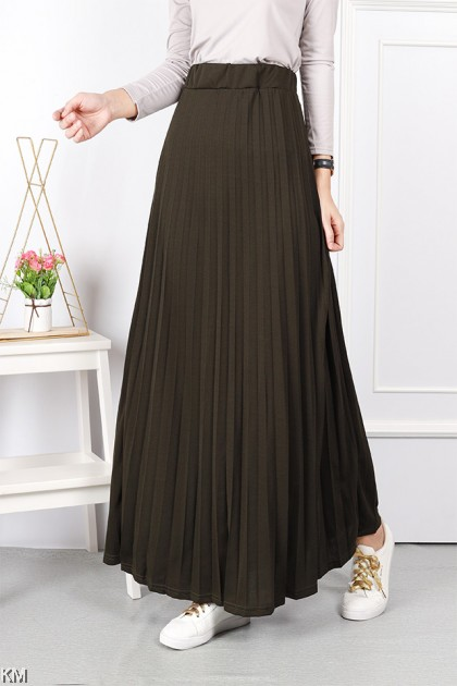 Elastic A Line Pleated Maxi Skirt [S24506]