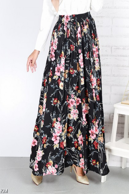 A line Floral Elastic Flared Skirt [S25864]