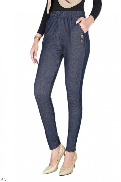 High Waisted Sides Button Pants [P24906]