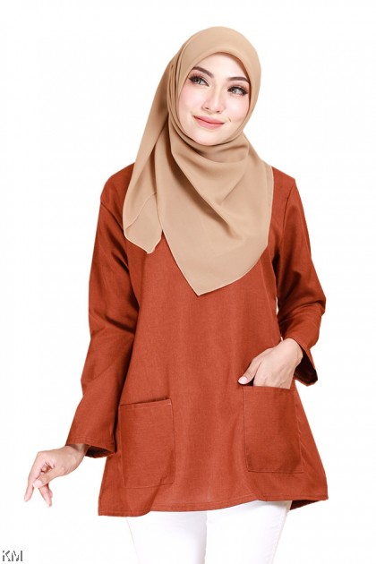 Sadiqa Front Pouch Solid Blouse [B14229]
