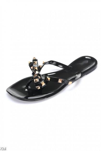 Ribbony Rivet Flat Sandals [SH29290]