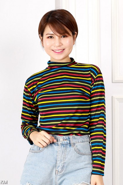 Turtle Neck Striped Long T Shirt [T664]