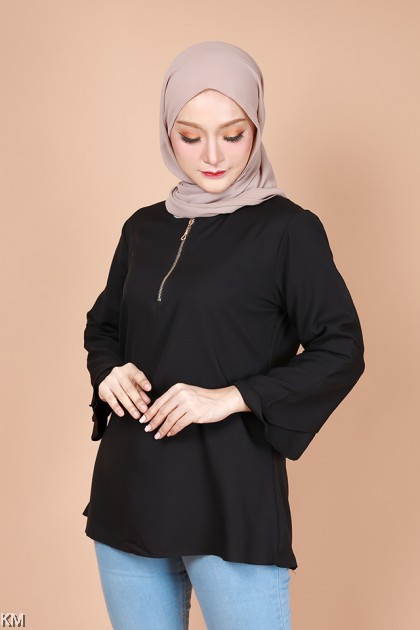 Rasha Flare Sleeves Zipper Blouse [B30416]