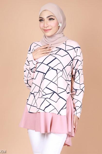 Madeena Crack Line Fashion Blouse [B29197]