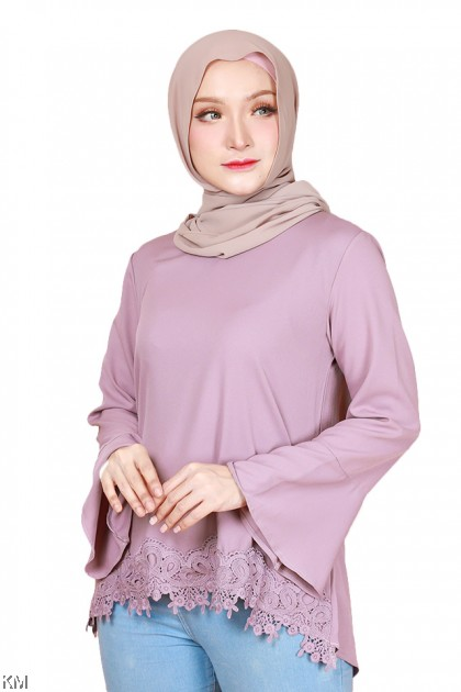 Hanisah Plus Size Lacey Flare Sleeves Blouse [B30413]