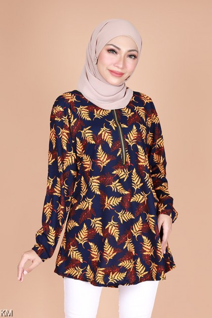 Muslimah Casual Fully Printed Front Zip Blouse [B23792]