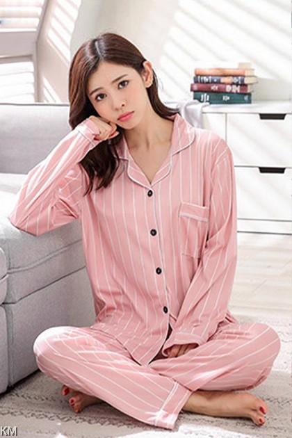 Autumn Long Sleeve Ice Silk Set Pyjamas B [PJ22156]