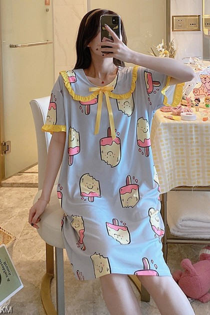 Ruffle Cartoon Printed Midi Night Dress A [PJ22717A]