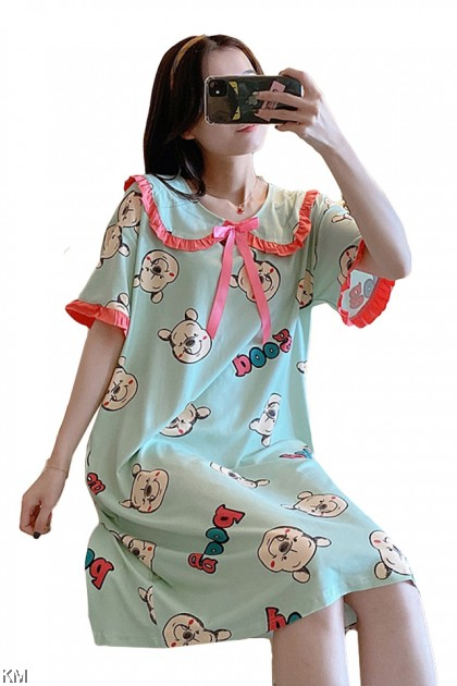 Ruffle Cartoon Printed Midi Night Dress [PJ22717B]