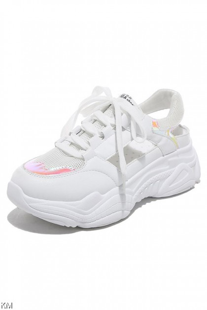 Reflective Thick Bottom Hollow Mesh Sneakers [SH30824]