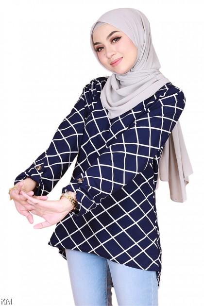 Sarah Checkered Printed Muslimah Blouse [B30901]