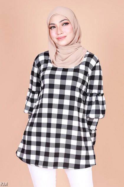 Risha Checkered Flared Layer Cuff Blouse [B30904]