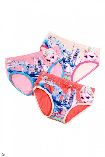 3 Pcs In Set Castle Cartoon Children Ice Silk Underwear [L30410]